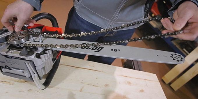 Установка цепи на электропилу