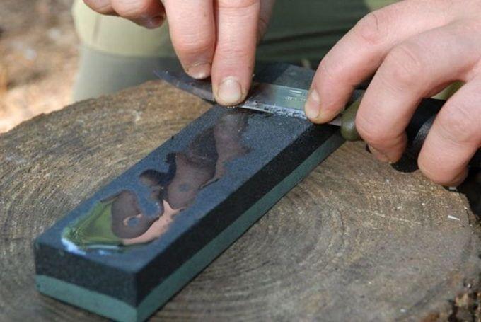 Заточка ножа японским водным камнем