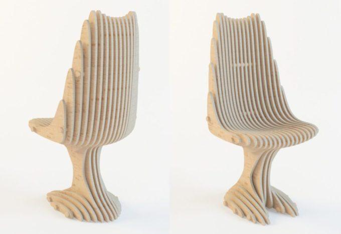 Параметрический стул из фанеры